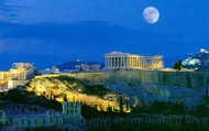 Night view of Parthenon and Athens' cities