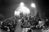 British hiding underground during bombing