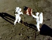 Both of them planting the American Flag on the moon.