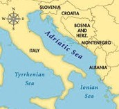 the location and size of the Adriatic Sea