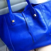 Leather Paris Market Tote in Cobalt