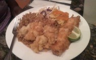 Peas and Rice, Crack Conch, Macaroni, Cole Slaw and Fried Grouper