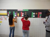 Fourth graders in Georgia Estes class working on a hallway timeline