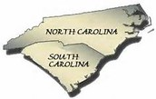 When did Carolina split into 2 different colonies?