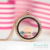 Gold Living Locket with Crystals and Love Plate