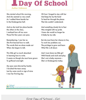 first day of school poem for a girl