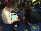 Mrs. Bradley coding with Michael