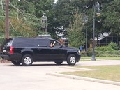 Nikki Haley driving by