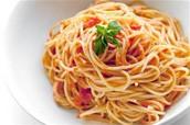 I ate a lot of spaghetti.