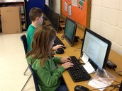 Typing our information and finding pictures.