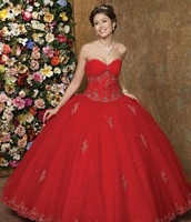 Cherry Red Embellished Ball Gown