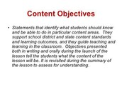 Content Objective Defined