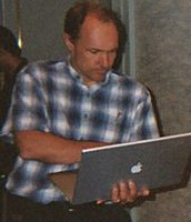 Tim Berners-Lee using a laptop in 2003