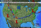 Stationary Front on map
