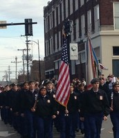 BGHS JROTC Marching in the Veteran's Day Parade