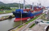 Ship going through the canal