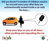 keep your keys on you at all time when packing and unpacking the car.