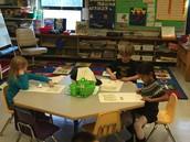 Kindergarteners working on Fundations.