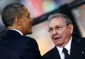 presidents of Cuba and U.S before a speech