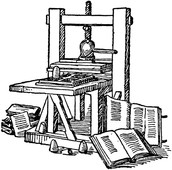 Depiction of the printing press