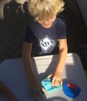Lucas loves the blue gak