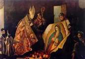 Juan Diego with the Bishop