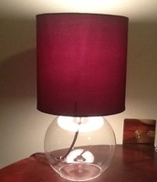 Small Glass Lamp w/Purple shade