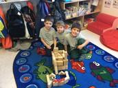 Teamwork during indoor recess!