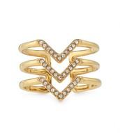 Pave Chevron Ring Gold Size M/L