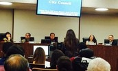Alondra Sandoval speaking to the Mayor and City Council