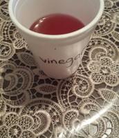Vinegar after adding the indicator