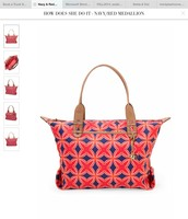 How Does She Do it - Navy/Red Medallion print