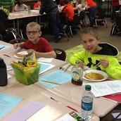 Parker and Luke enjoying their pancakes!