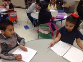 Students in Ms. Mirabal's Kinder Class were proud to show us all the sentences they write during the writing workshop.