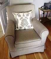 Grey checked armchair - SOLD !