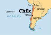 Chile on a map