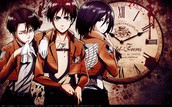 Levi (left) Eren Jeager (middle) and Mikasa Ackerman (right)