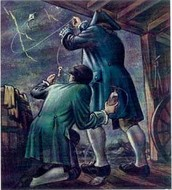 Ben Franklin doing his kite experiment