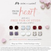 Free pair of studs with any orders over $75