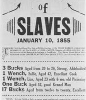 A sale sign for slaves