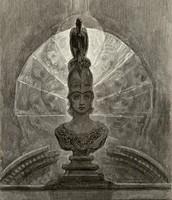 Pousado sobre o busto de Palas