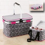Insulated Collapsible Picnic Basket & Insulated Beverage Cooler
