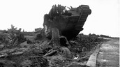 Tank destroyed by a weapon explosion
