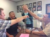 Teachers participate in team-building activity
