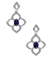 BLUE STONE STUDDED EARRING PAIR IN STERLING SILVER