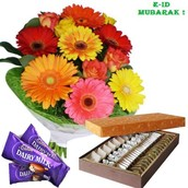 E-id 12 Mix Flowers with 3 Cadbury chocolates and 1Kg Mix sweets
