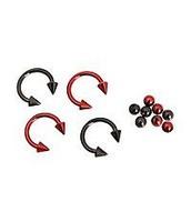 Morbid Metals 14G Red Black Circular Barbell 4 Pack