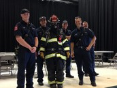 Mrs. Whitehead and the fire fighters.