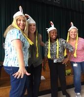 Ladies in chicken hats!