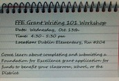 FFE GRANT WRITING 101 WORKSHOP
